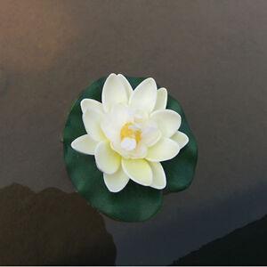 1PC-Milk-White-Artificial-Fake-Lotus-Water-Float-Flower-Garden-Pond-Plant-Decor