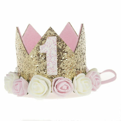 First Birthday Party Hat Decor Hair Accessory Baby Girl Flower Princess Crown TK