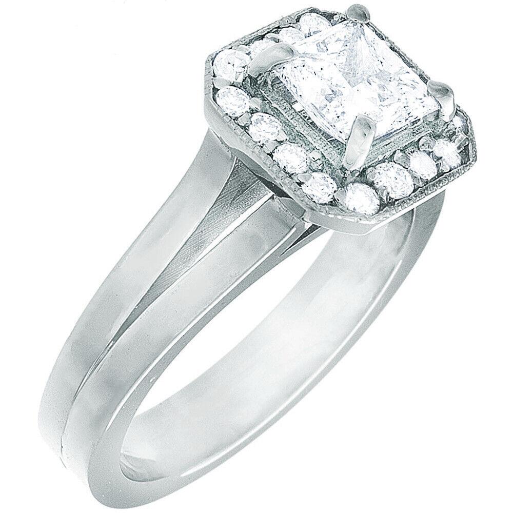 GIA Certified Diamond Engagement Ring 1.24 Carat Princess Cut 14k White Gold  3