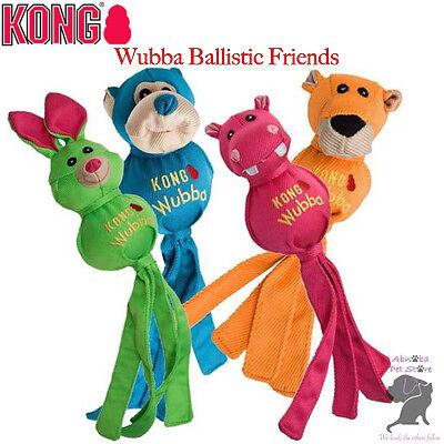 Kong Wubba Ballistic Friends Four fun characters Dogs & Puppies Chew & Throw (Ballistic Nylon Toy Throw)