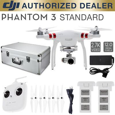 DJI Phantom 3 Standard Quadcopter Drone Bundle w/ spare battery & aluminum case