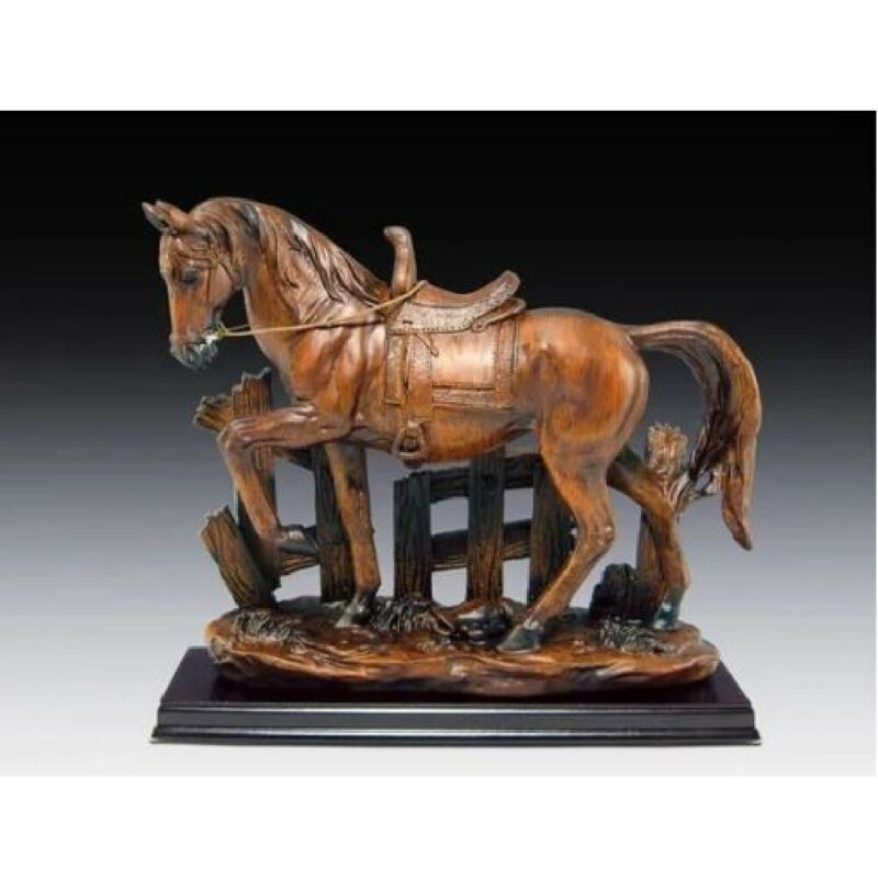 Horse With Wood Base Figurine New