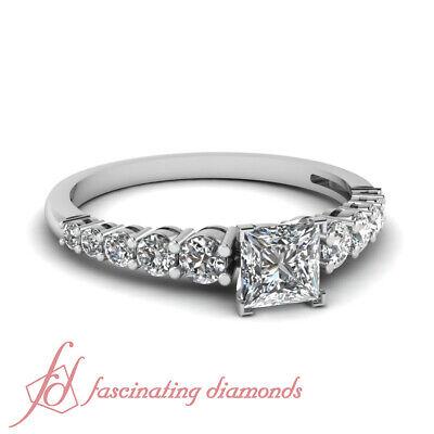 .85 Ct Princess Cut Diamond Escalating Elegance Prong Set Engagement Ring GIA