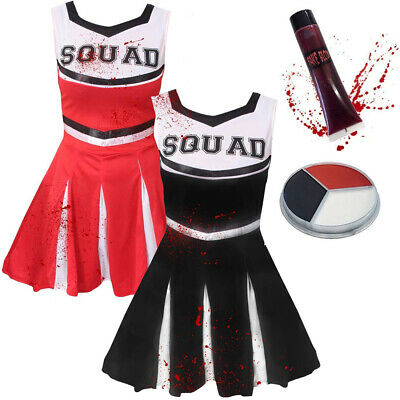 Zombie Teen Costume (GIRLS ZOMBIE CHEERLEADER COSTUME CHILDS HALLOWEEN SCHOOL FANCY DRESS TEEN)