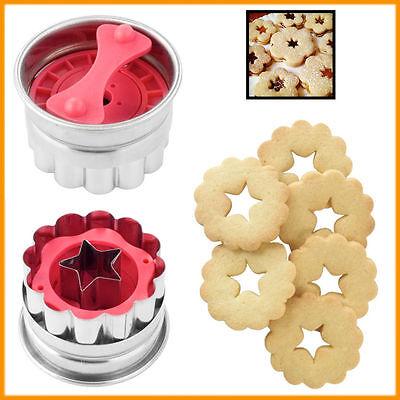 2 Cookie Plunger Cutter Flower Biscuit Fondant Mold Star Mould Bake Shortbread - Star Plunger Cutter