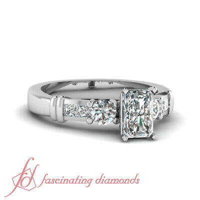 1.60 Ct Radiant Cut:Very Good Diamond 3 Stone Channel Set Engagement Ring GIA