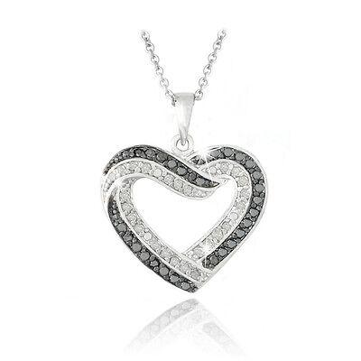 0.50ct TDW Black & White Diamond Open Heart Necklace in Brass