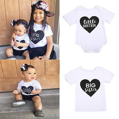 - US Stock Toddler Kids Girl Big/Little Sister Romper  Bodysuit Outfit T-shirt NEW