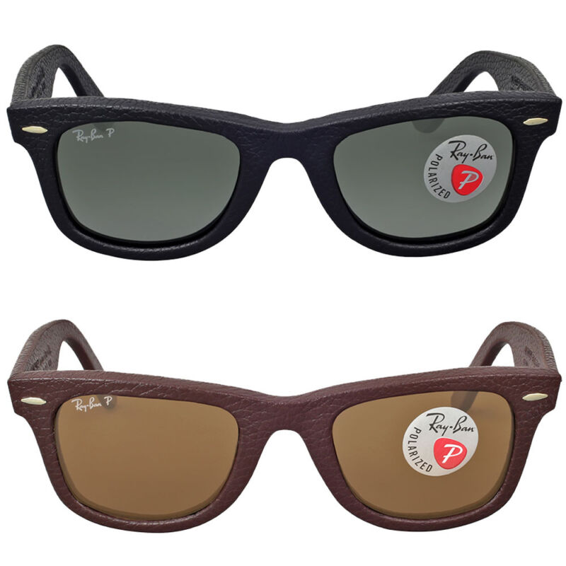 Ray Ban Wayfarer Polarized Leather Sunglasses - Choose color