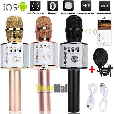 Q37 Wireless Microphone Karaoke Mic Home KTV Player Bluetooth Speaker+Pop Filter
