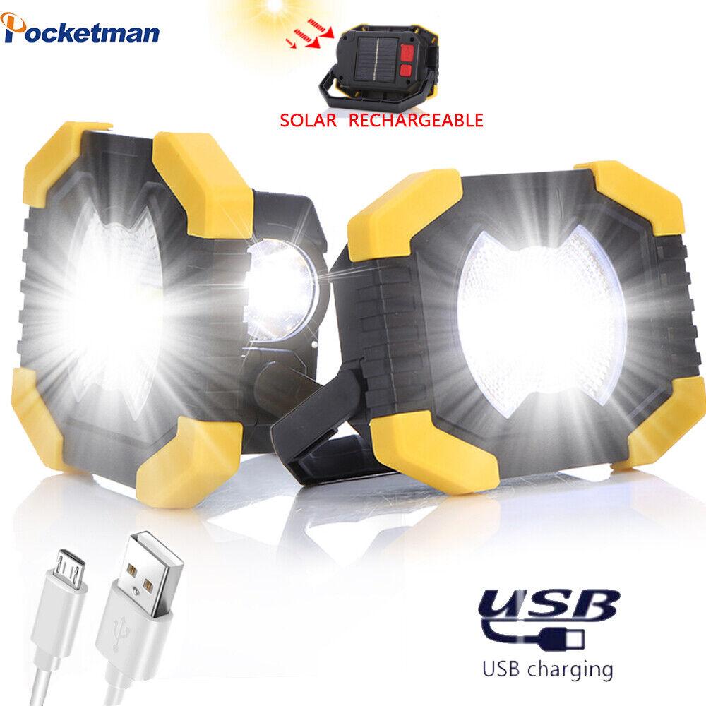 Ultra Bright 50W Solar COB LED Work Light USB Rechargeable 2
