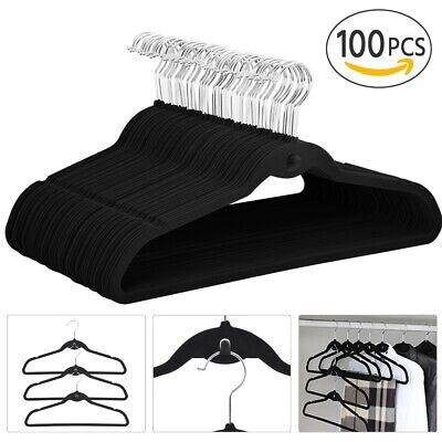 Cascading Non-slip Velvet Clothes Hangers, Pack of 100, Black