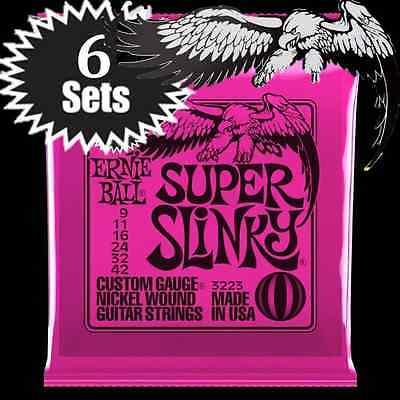 Ernie Ball Super Slinky Nickel Wound Electric Guitar Strings 9-42 2223 6 Sets - $20.99