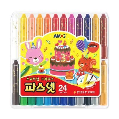 Amos Premium Non-toxic Silky Crayon Pasnet 24 Colors [Ship from USA] - Non Toxic Crayons