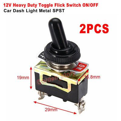 2pcs Dc12v Volt Heavy Duty Toggle Flick Switch Onoff Car Dash Light Metal Spst