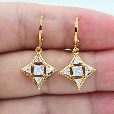 18K Yellow Gold Filled Hollow White Square Triangle Topaz Zircon Women - 18k Triangle Earrings