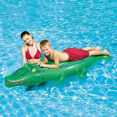 "Inflatable Blow Up 66"" x 31"" Childrens Crocodile Swimming Pool Lilo Float Rider"