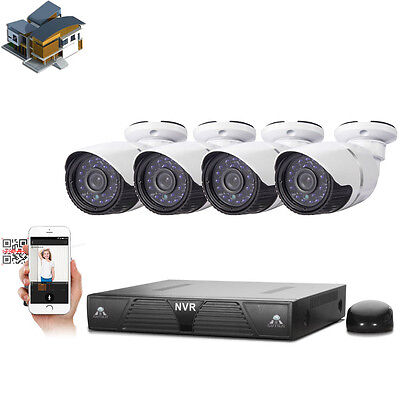 New 4CH 720P HD NVR Outdoor Security Night Vision Camera System P2P Plug & Play