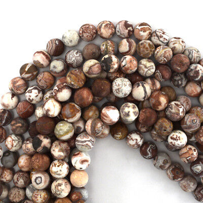 Crazy Agate Beads - Matte Mexican Crazy Lace Agate Round Beads Gemstone 15