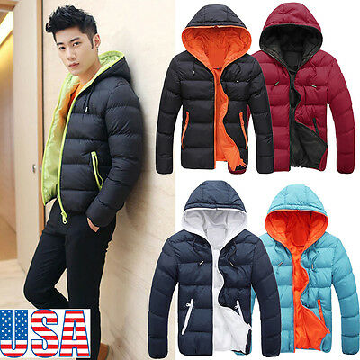 Mens Slim Casual Warm Jacket Hooded Winter Thick Coat Parka Overcoat Hoodie Us