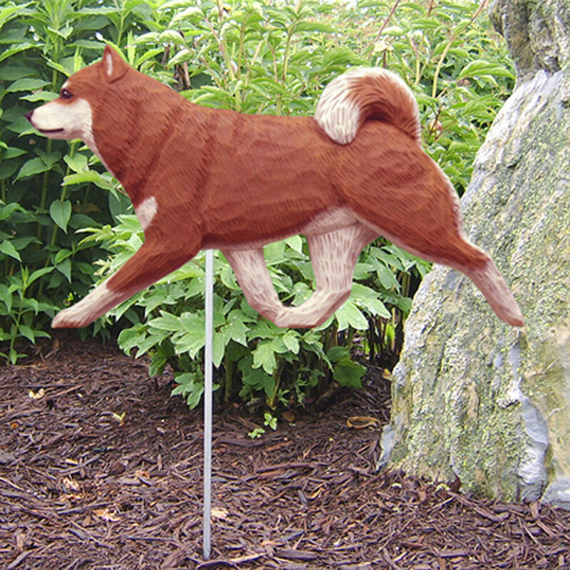 Shiba Inu Outdoor Garden Sign Hand Painted Figure Red