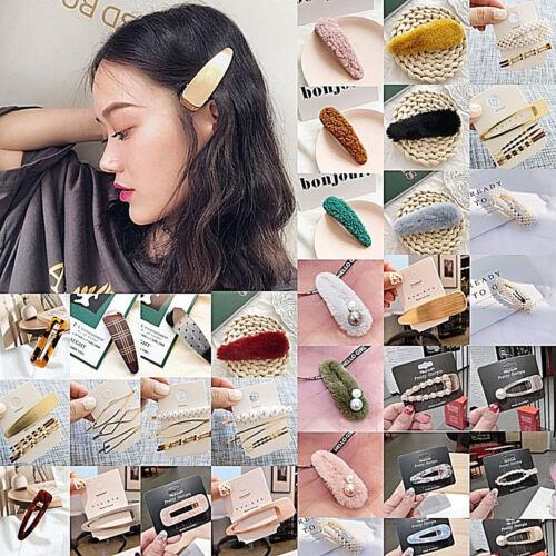 Fashion Womens Pearl Plush Barrette Hair Clip Bobby Pin Hairpin Hair Accessories