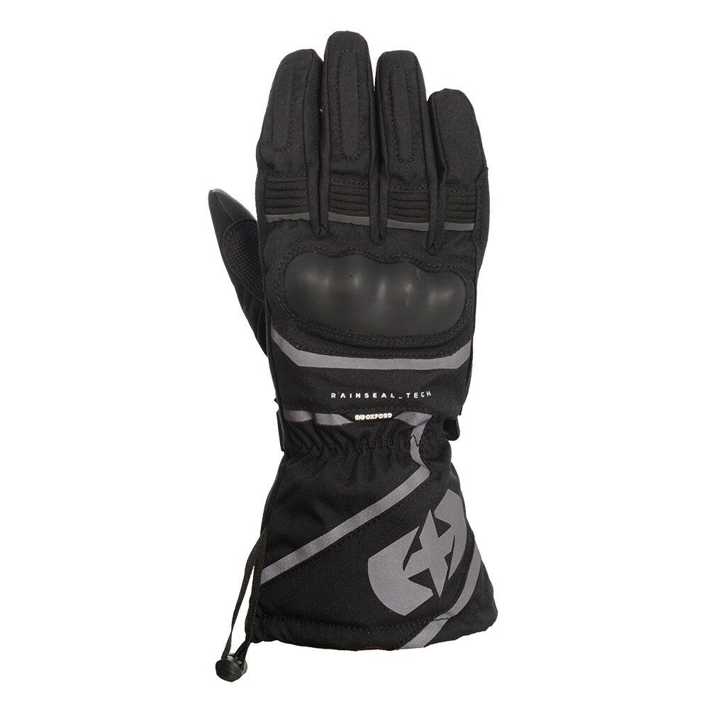 OXFORD MONTREAL WATERPROOF LEATHER SPORTS MOTORCYCLE ARMOUR GLOVES BLACK T