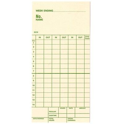 14-day Two-weekly Bi-weekly Time Cards For Amano Lathem Simplex Box Of 1000