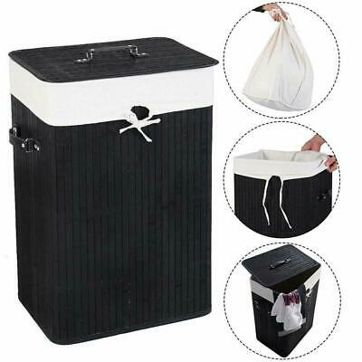Rectangle Bamboo Hamper Laundry Basket Washing Cloth Bin Rangier Lid Black