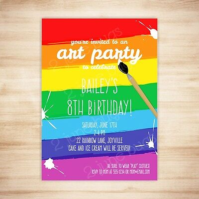 Paint Party Invitations (Art Party Paint Party Birthday Party Invitation - DIGITAL PRINTABLE PDF)