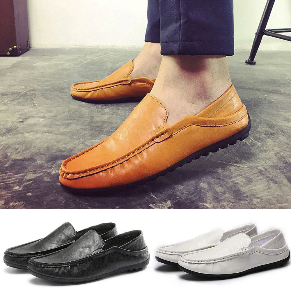 Men Soft Breathable Leather Fashion Trim Flat Driving Casual Slip On Shoes