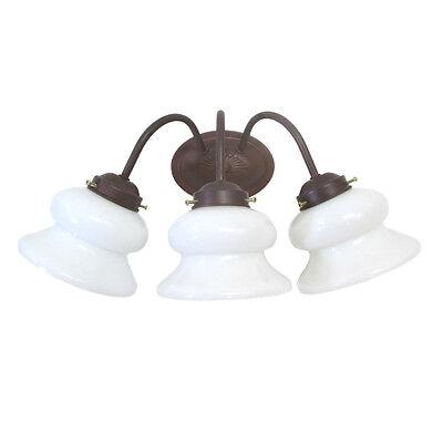 3 Light Cobblestone Wall (Cobblestone and White Decorative Glass 3Light  Bath Wall Light  )