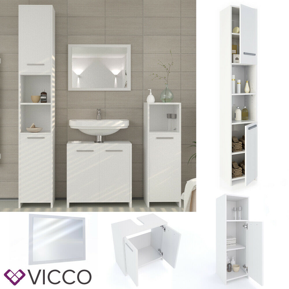 VICCO Badmöbel-Set KIKO - Spiegel Waschbeckenunterschrank Badschrank Hochschrank