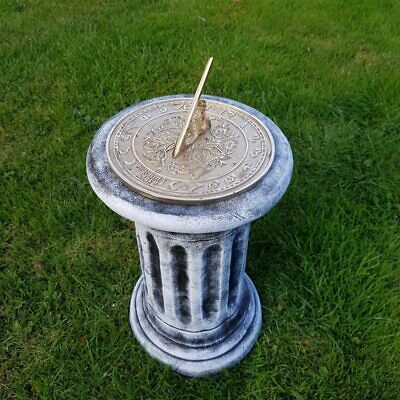 Concrete Plinth & Morning Glory Brass Sundial Combo Black & White