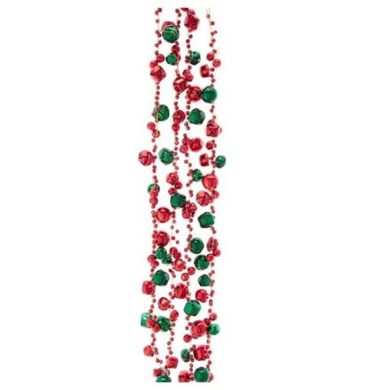 Red and Green Jingle Bell Christmas Garland 6 Feet Long D3774