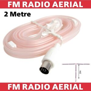 Indoor FM Aerial For HiFi VHF Stereo Radio Flat Ribbon Dipole Antenna Coaxial