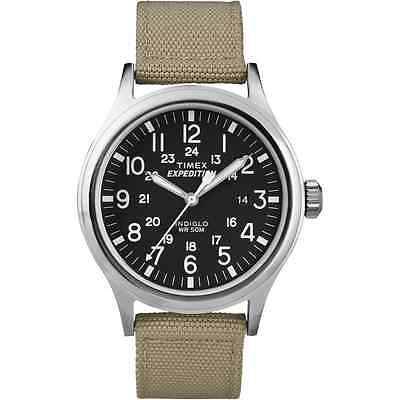 Timex T49962, Men's Expedition Scout Khaki Fabric Strap Watch, Date, Indiglo