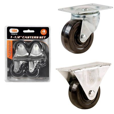 4 Pc 1.5 Swivel Chair Casters Ball Bearing Wheels Rubber Base Top Plate Office