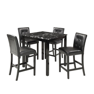 5 Piece Dining Room Table and Chairs Set Laminated Faux Marble Top Furniture