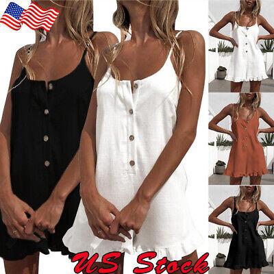 Women Ruffle Cotton Linen Beach Shorts Jumpsuit Loose Mini Party Romper Playsuit ()
