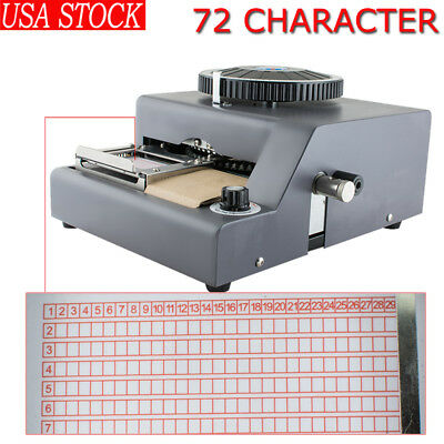 72 Character Letter Manual Embosser Pvc Stamping Credit Card Embossing Machine