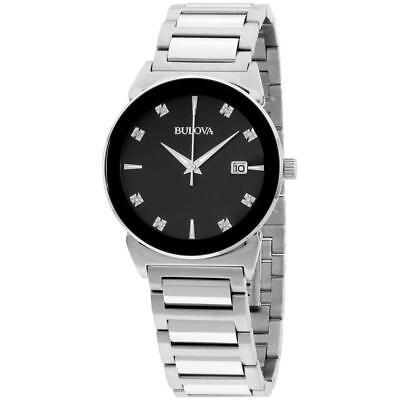 Bulova 96D121 Men's Dress Black Diamond Set Dial Stainless Steel Quartz Watch