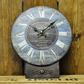 NEW Vintage Shabby Chic Style 26cm Vintage Port Metal Table Mantle Clock REDUCED TO CLEAR