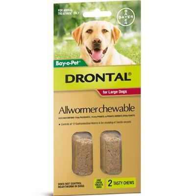 (Drontal Allwormer Chewables for Dogs 35kg 2 chews Dog Dogs Pet Pets)