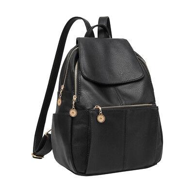 Women Girl Leather Black Backpack Satchel Rucksack Travel Shoulder School Bag
