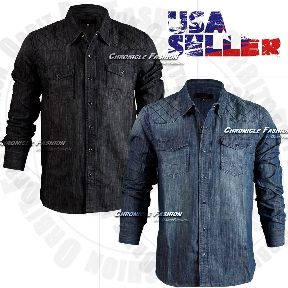 Mens Button Front Denim Shirt Quilted Long Sleeves Casual Fashion Snap Wash Slim