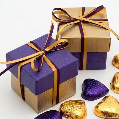 GOLD AND PURPLE SILK SQUARE BOX & LID WEDDING FAVOUR BOX -CHOOSE QUANTITY