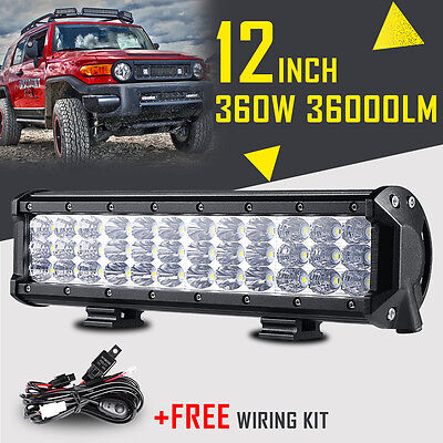 12INCH 360W CREE LED Work Light Bar Flood Spot Combo Offroad Driving Fog 15/20""
