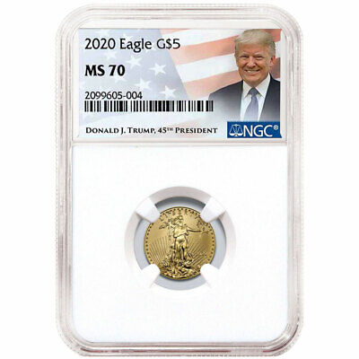2020 $5 American Gold Eagle 1/10 oz. NGC MS70 Trump Label