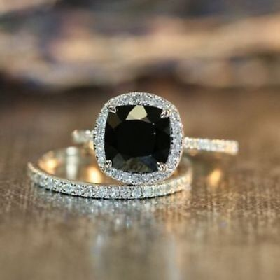 Certified 2.35Ct Cushion Black Diamond Engagement Wedding Ring in 14K White -